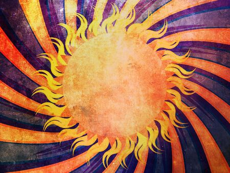 colrful: Vintage grunge background with abstract sun and ornage rays. Stock Photo