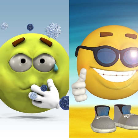 smileys: Two 3d emoticons one feels sick and the other is happy, standing on the beach. Stock Photo