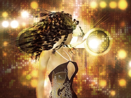 Beautiful 3d woman dancing on abstract shining background. photo