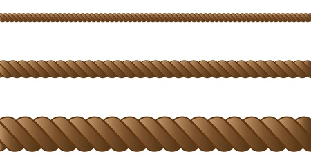 Three ropes in different sizes on white background.