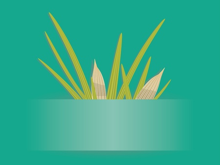 Abstract spring card of emerald color with green grass. Vector