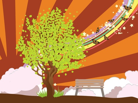 bench alone: Illustration of summer tree with green leaves and bench on background with rays.