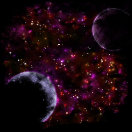 Night sky with bright stars, planets and purple nebula. photo