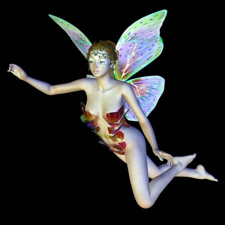 woman side view: Digitally rendered image of a beautiful flower fairy flying on black background.