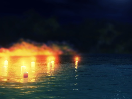 Abstract night background with 3d candles in the water. photo