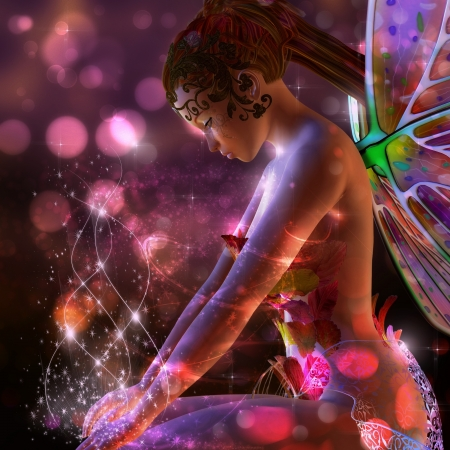 3d fairy girl on colorful  dreamy background with bokeh effect. photo