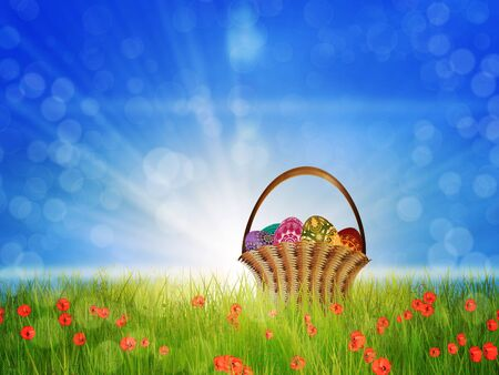 Easter eggs are in busket on a sunny poppy field background. Stock Photo - 18727715