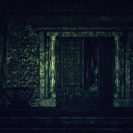 Digitally rendered image of old hounted spooky crypt. photo