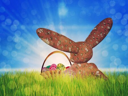 Easter background with toon plush bunny and basket of eggs on grass field. Stock Photo - 18727717