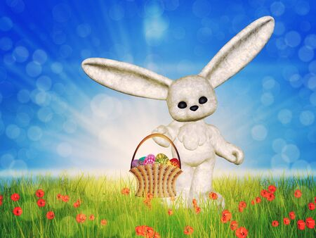 Easter background with toon plush bunny and basket of eggs on grass field. Stock Photo - 18727720
