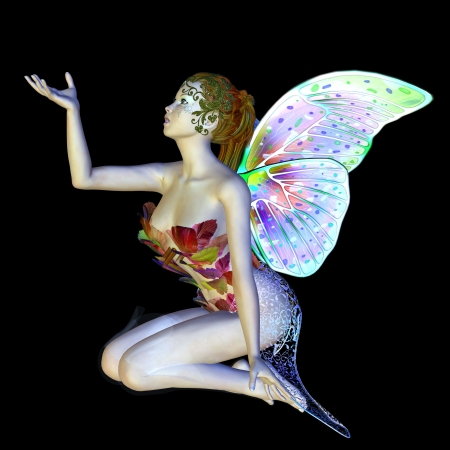 Digitally rendered image of a beautiful flower fairy sitting on black background. Banque d'images