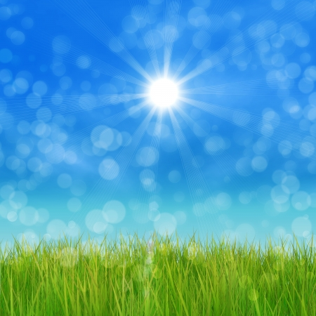 Summer nature background with 3d green grass and blue sky. photo