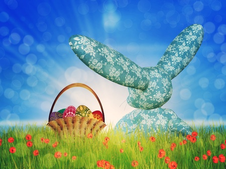 Easter background with toon plush bunny and basket of eggs on grass field. Stock Photo - 18727742