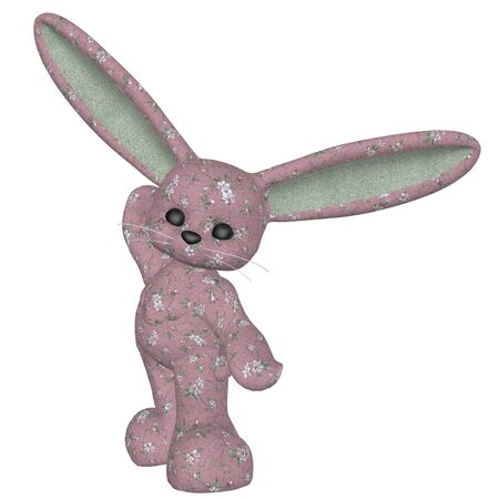 Digitally rendered image of a plush bunny on white background. photo