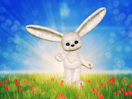 Spring background with 3d plush bunny on sunny grass field. photo