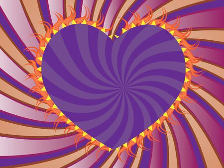 flaming heart: Background with purple, orange rays and violet flaming heart.