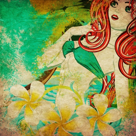 Vintage background with island girl in green bikini with red hair and plumeria flower. photo