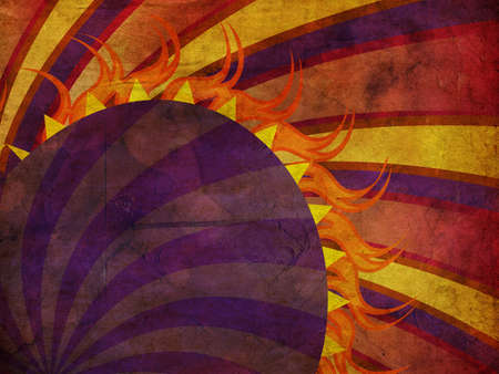 flaming heart: Vintage background with purple, orange rays and violet flaming heart.