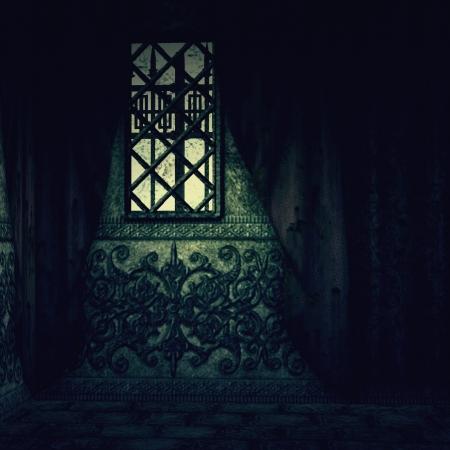 castello medievale: Digitally resi immagine della vecchia casa interiore Hounted con tende rosse.