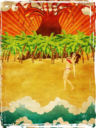 Vintage background with cartoon girl on tropical beach with palm trees and exploding volcano. photo