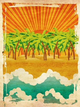 Vintage background with cartoon tropical island with palm trees and waves on sunset. photo