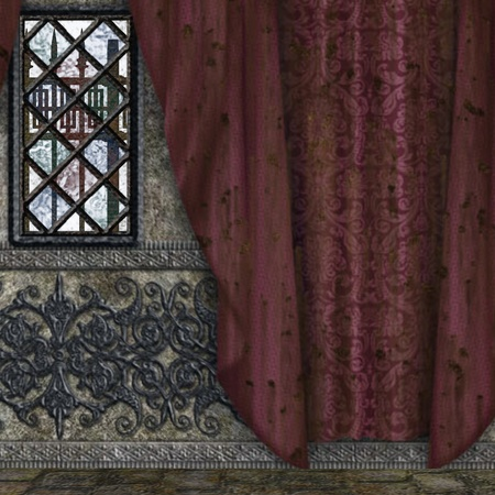Digitally rendered image of old hounted house interior with red curtains.