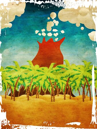 Grunge background with cartoon tropical beach with palm trees,  blue waves and volcano. photo