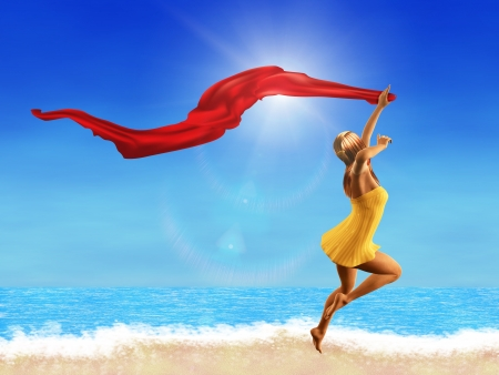 3d woman jumping on the beach with a red scarf. Stock Photo - 18819541