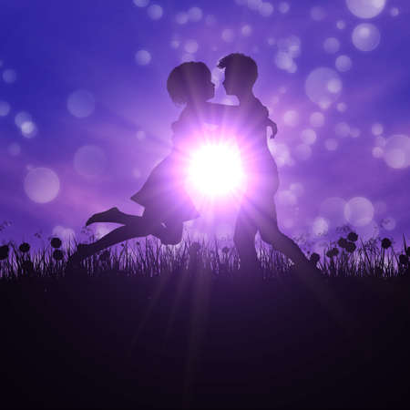 truelove: Black silhouette of young couple embracing on summer meadow.