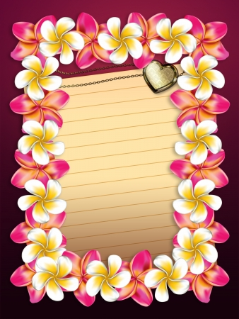 Plumeria, frangipani flowers frame with yellow sheet of paper background. photo