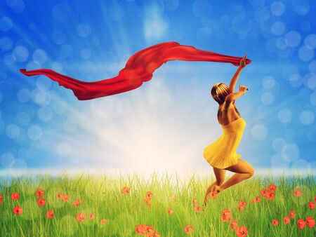 3d woman jumping on a poppy field with a red scarf. Stock Photo - 18819648