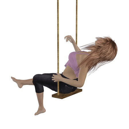 rocked: Digitally rendered image of a woman in pink top on swing over white background. Stock Photo