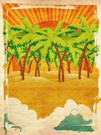 lagoon: Vintage background with cartoon tropical island with palm trees and waves on sunset.
