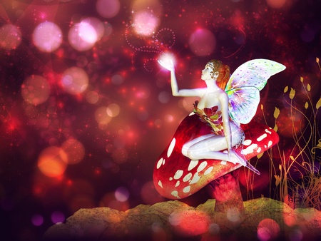 3d flower fairy on mushroom over colorful bokeh background. Stock Photo - 18874684