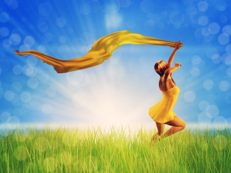 3d woman jumping on a grass meadow with a yellow scarf. photo