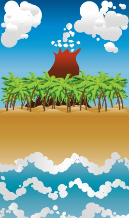 Cartoon tropical beach with palm trees,  blue waves and volcano. Vector