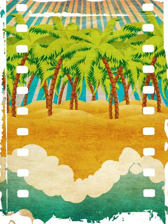 Grunge background with cartoon tropical beach with palm trees and blue waves.  photo