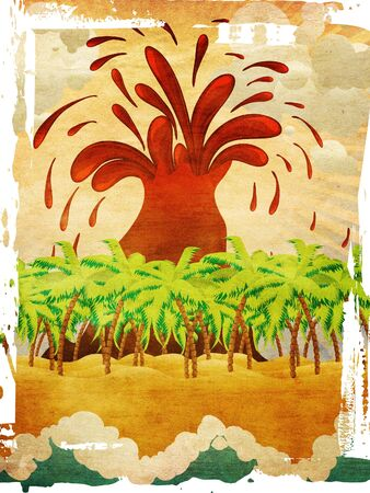 Grunge background with cartoon tropical island with exploding volcano. photo