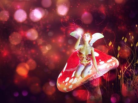 3d flower fairy on mushroom over colorful bokeh background. photo