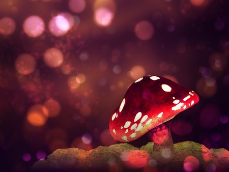 Big mushroom on glowing purple fantasy bokeh background. photo