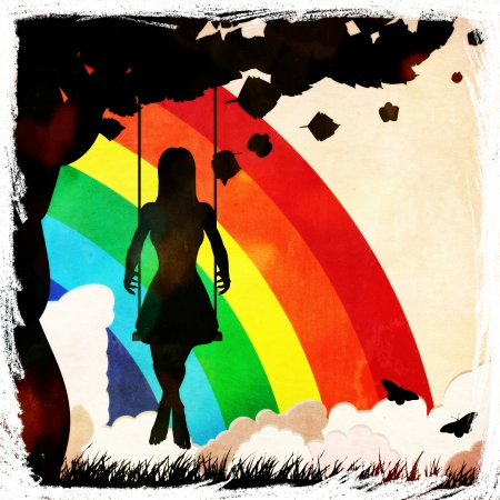 Silhouette of a girl sitting on a swing under the tree on grunge rainbow background. photo