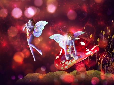 magical forest: 3d flower fairy on mushroom over colorful bokeh background.