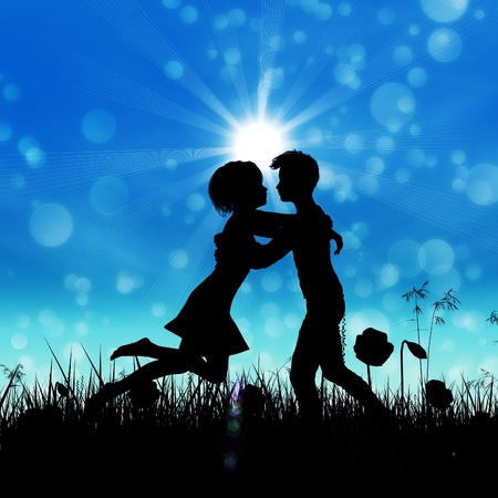 Black silhouette of young couple embracing on summer meadow. Stock Photo - 18959941