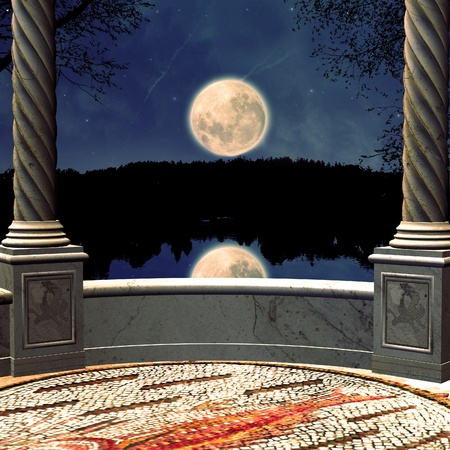 balcony view: View to night landscape from a 3d fantasy balcony background.