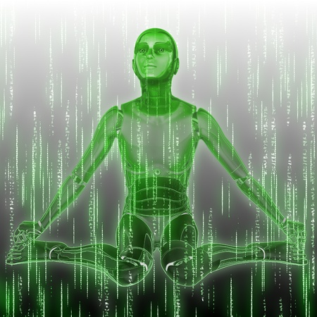Abstract matrix green background with humanoid and code streaming. photo