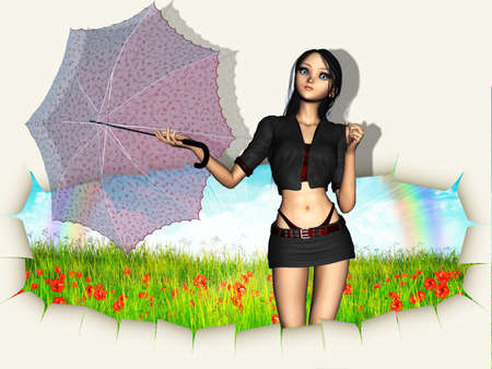 3d woman with red umbrella going out of hole in paper reveal grass field. photo