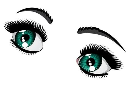 long eyelashes: Female eyes of emerald color with long eyelashes and black eyebrows. Illustration