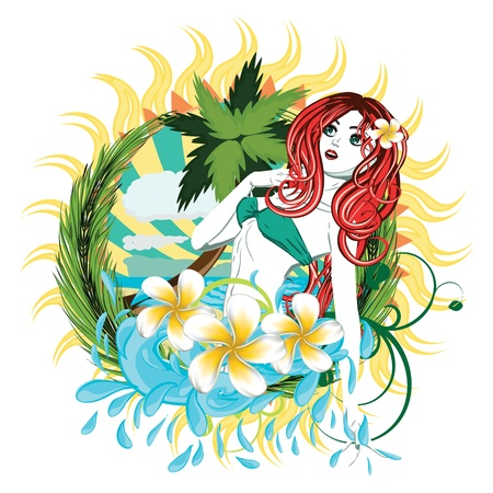 Beautiful island girl in green bikini with red hair and plumeria flower. Vector