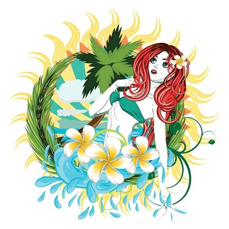 hula: Beautiful island girl in green bikini with red hair and plumeria flower.