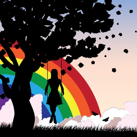 Silhouette of a girl sitting on a swing under the tree on rainbow background. Vector